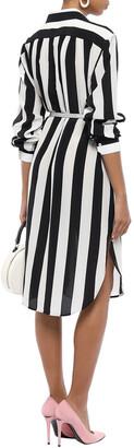 Dolce & Gabbana Striped Silk Crepe De Chine Shirt Dress