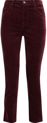 J Brand Ruby Cropped Snake-print Cotton-blend Velvet Slim-leg Pants