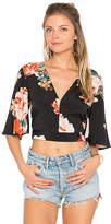 Band of Gypsies Large Floral Crop Top in Black. - size L (also in )