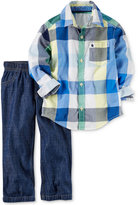 Carter's 2-Pc. Cotton Plaid Shirt & Jeans Set, Baby Boys (0-24 months)