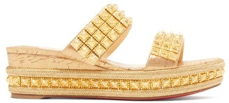 Christian Louboutin Ecu Studded-strap Wedge Mules - Gold