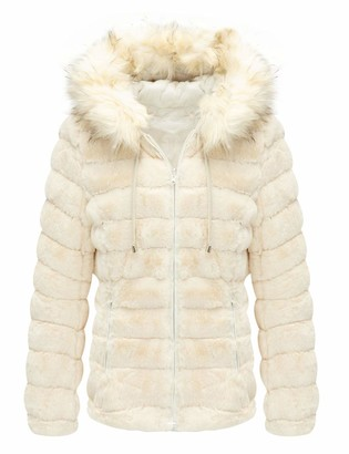 Bellivera Womens Double Sided Faux Fur Jacket with Fur Collar The Puffer Coat Worn on Both Sides White X-Large