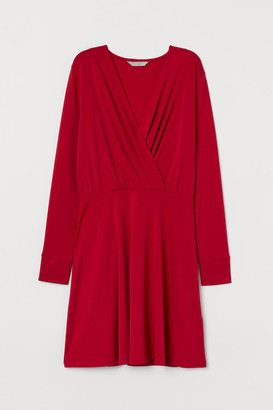 H&M V-neck Jersey Dress - Red