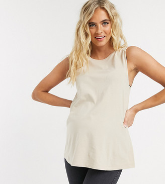Asos DESIGN Maternity super oversized singlet with open back in stone