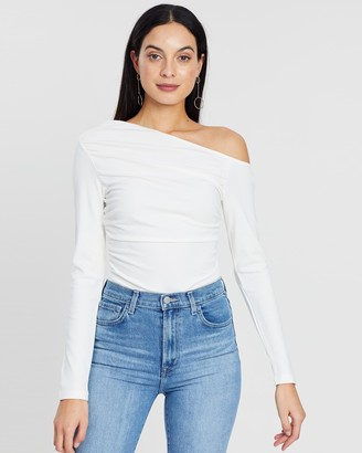 Atmos & Here Atmos&Here - Women's White Off The Shoulder Tops - Amber Bodysuit - Size 12 at The Iconic