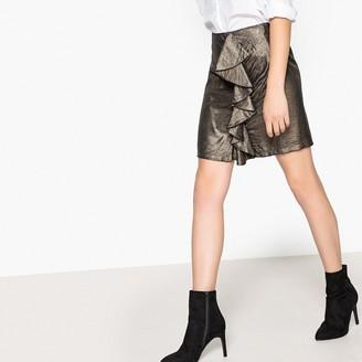 La Redoute Collections Ruffled Metallic Mini Skirt