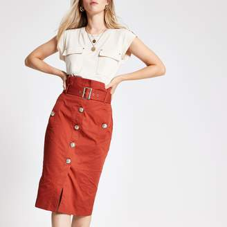 River Island Womens Rust belted pencil skirt
