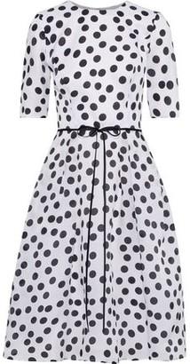 Carolina Herrera Bow-embellished Pleated Polka-dot Silk-gazar Dress