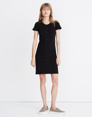 Madewell Button-Front Ribbed Mini Dress