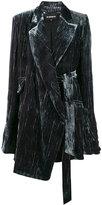 Ann Demeulemeester Velvet oversized Asymmetrical Belted blazer