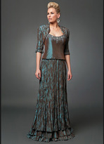 Daymor Couture - Beaded Crinkled Long Gown with Bolero 213