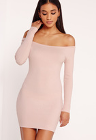 Missguided Off Shoulder Knit Ribbed Dress Pink