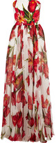 Dolce & Gabbana Floral-print Silk-blend Matelassé And Chiffon Gown - Red