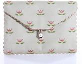 Frederic Fekkai Multi-Colored Floral Print Scallop Trim Envelope Clutch Handbag