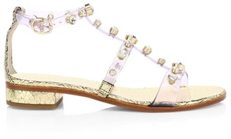Sophia Webster Dina Embellished Vinyl & Metallic Leather T-Strap Sandals