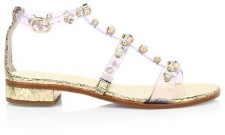 Sophia Webster Dina Embellished Vinyl & Metallic Leather T-Strap Sandals