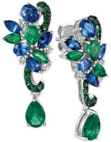 LeVian Le Vian Precious Collection® Sapphire (1-9/10 ct. t.w.), Emerald (2-1/10 ct. t.w.) and Diamond (1/5 ct. t.w.) Earrings in 14k White Gold, Only at Macy's