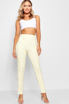 boohoo High Waist Gingham Check Split Skinny Pants