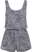 Stella McCartney Printed Cotton And Silk-blend Playsuit - Midnight blue