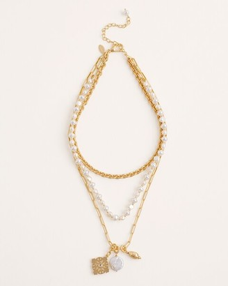 Chico's Multi-Strand Freshwater Pearl and Goldtone Necklace