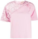 No.21 crochet panel T-shirt