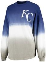 Women's Royal Kansas City Royals Oversized Long Sleeve Ombre Spirit Jersey T-Shirt