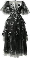 Oscar de la Renta layered embroidered evening dress