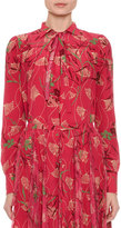 Valentino Floral Circle Tie-Neck Blouse, Pink Pattern