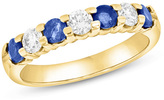 Zales Blue Sapphire and 3/8 CT. T.W. Diamond Seven Stone Wedding Band in 14K Gold