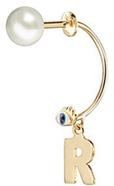 Delfina Delettrez 'ABC Micro Eye Piercing' freshwater pearl 18k yellow gold single earring - R