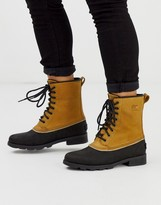Sorel leather emelie lace up boot in tan and black