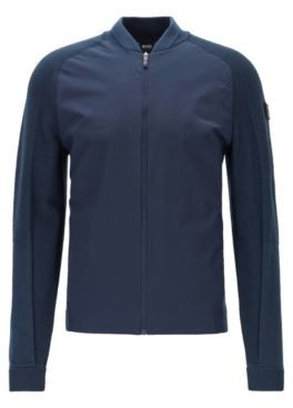HUGO BOSS Zip-through sweater in stretch jersey with moisture management