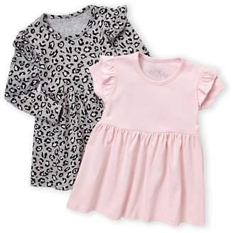 Freestyle Revolution (Infant Girls) Two-Piece Long Sleeve Leopard & Solid Dress Set
