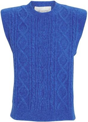 LES COYOTES DE PARIS Morris Padded Shoulder Cable Knit Sweater