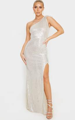 PrettyLittleThing Silver Sheer Sequin One Shoulder Maxi Dress