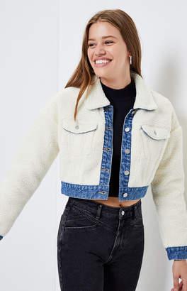 Pacsun PacSun Sherpa Denim Cropped Jacket