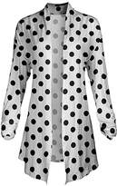 Lily Women's Open Cardigans BLK - White & Black Polka Dot Pointed-Hem Open Cardigan - Women & Plus