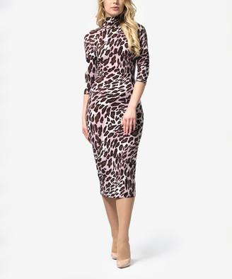 Lila Kass Women's Casual Dresses Leopard - Pink & Brown Leopard Turtleneck Bodycon Dress - Women & Plus