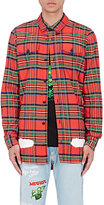 Off-White Men's Spray-Painted Cotton Shirt-RED
