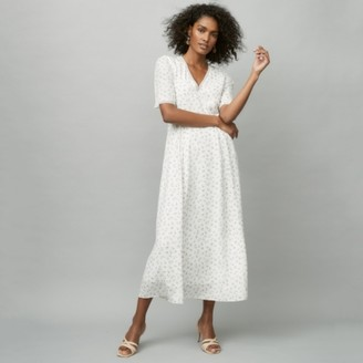 The White Company Silk Printed Dress, Ivory, 12