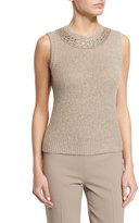 Ralph Lauren Sleeveless Beaded Cashmere Top, Oatmeal