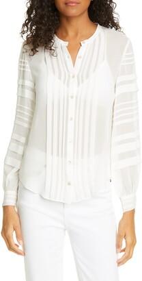 Rebecca Taylor Pintuck Long Sleeve Silk Chiffon Blouse