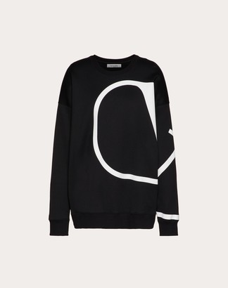 Valentino Vlogo Signature Printed Sweatshirt Women Black/white Cotton 96%, Polyamide 4% L