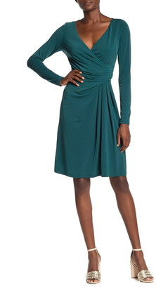 Marina Surplice Draped Long Sleeve Dress