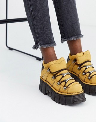 New Rock chunky leather lace up sneakers in camel