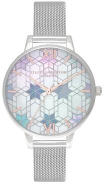 Olivia Burton Women's Ice Queen Stainless Steel Mesh Bracelet Watch 34mm
