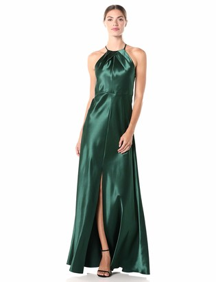 Jenny Yoo Women's Cameron Halter Neck Satin Back Long Gown