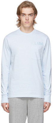 Helmut Lang Blue Raised Embroidery Long Sleeve T-Shirt