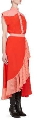 Givenchy Silk Colorblock Ruffle Dress
