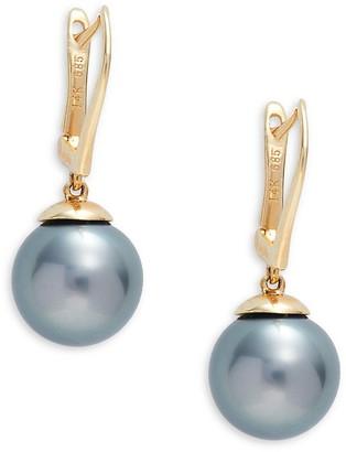 Tara Pearls 14K Yellow Gold 9-10MM Tahitian Pearl Drop Earrings